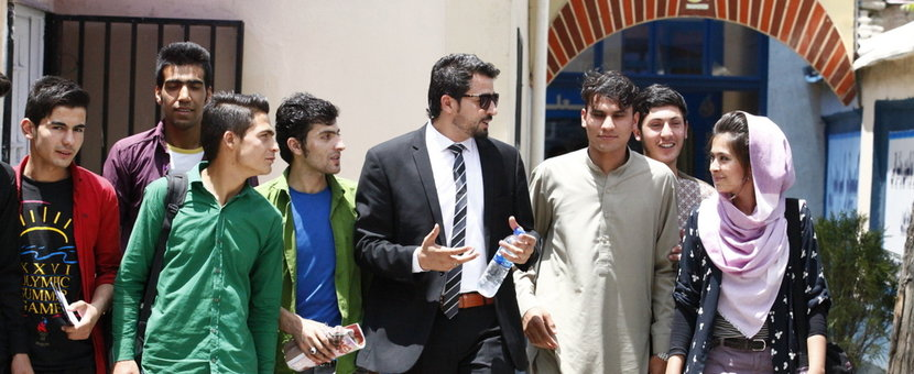 University students talk together at one of Kabuls institutes for higher learning.